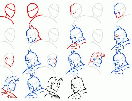 How to draw Batman vs. Superman pose