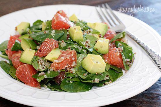 Spinach and Quinoa Salad with Grapefruit and Avocado