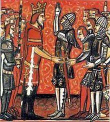Charlemagne remet Durandal à Roland- CHARLEMAGNE. 4) BIOGRAPHIE. 4.5 ELARGISSEMENT DE TERRITOIRE. 4.5.4: L'ESPAGNE, 7: Menacés d'intervention de l'émir de Cordoue, les Francs lèvent le siège et quittent l'Espagne, après avoir pillé Pampelune. Cet échec est augmenté du revers assez grave subi par l'arrière-garde de Charlemagne par les Vascons lors de la traversée des Pyrénées.