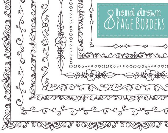 8 Page Borders Hand Drawn // Frames // Doodle by thePENandBRUSH
