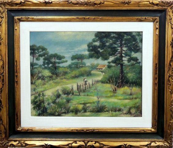 Alfredo Volpi, `Paisagem` - óleo sobre tela - med. 51 x..