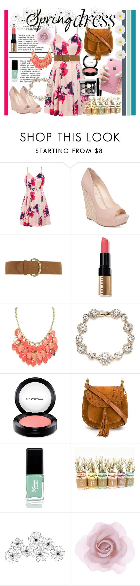 """""""Spring dress"""" by annamcevoy-i ❤ liked on Polyvore featuring Jessica Simpson, Dorothy Perkins, Bobbi Brown Cosmetics, Marchesa, MAC Cosmetics, Chloé, JINsoon, Chanel, Accessorize and Monsoon"""