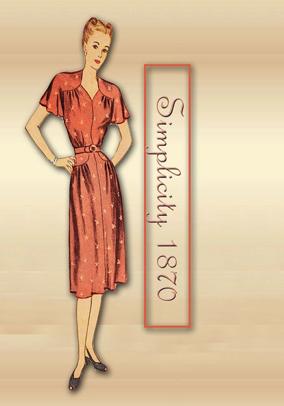 Vintage 1940s Dress Pattern Vintage Simplicity 1870 Swing Era Sweetheart Neckline Evening Gown and Short Day Dreess Size 16 Bust 34  A