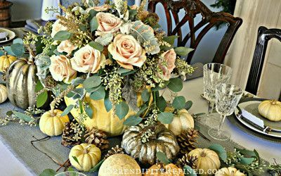 Rustic Gray and White (and Pink) Thanksgiving Table Decor by Serendipity Refined