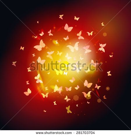 summer butterflies fly to light, yellow insects on dark background. Vector illustration