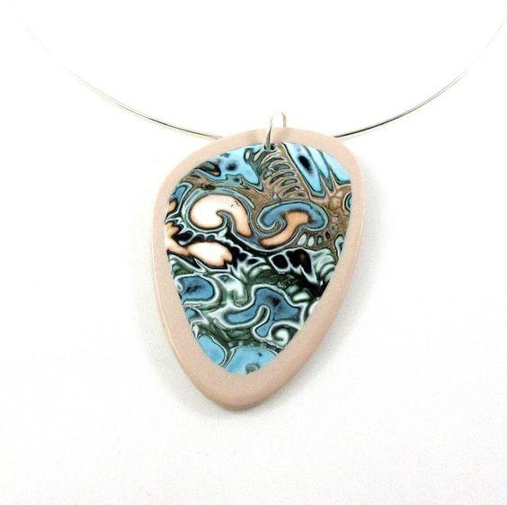 Collier original bleu et cuivré motif abstrait : Collier par lealola