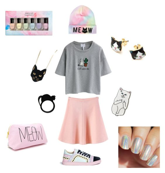 """Pastel cats 😻"" by phanalltimelowanimetrash ❤ liked on Polyvore featuring RIPNDIP, WithChic, Sophia Webster, Chicnova Fashion, Forever 21 and Deborah Lippmann"