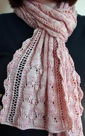 Knitting Pattern For Silk Scarf : Mother of Pearl Panda Silk DK Scarf -by Grumperina - Panda Silk DK superwash ...