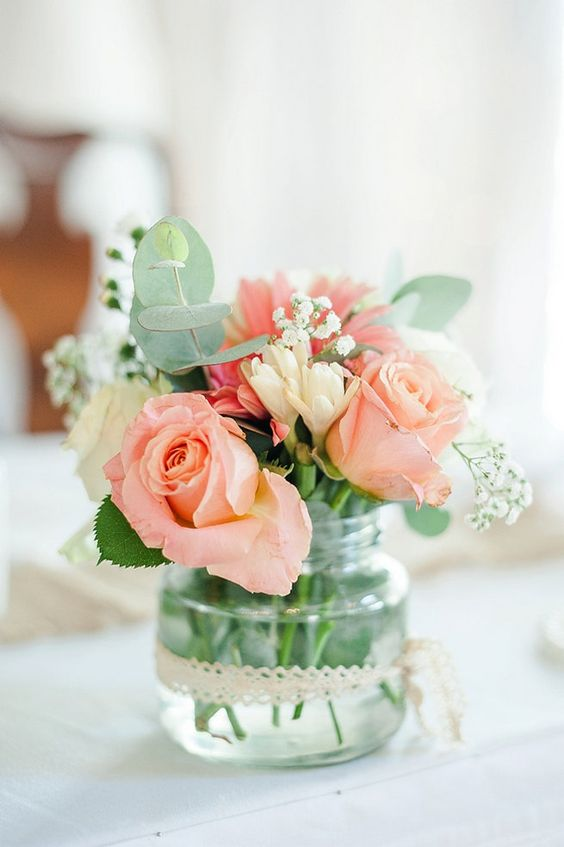 Peach roses, babys breath, eucalyptus / Coral and Green South African Wedding // D'amor Photography:
