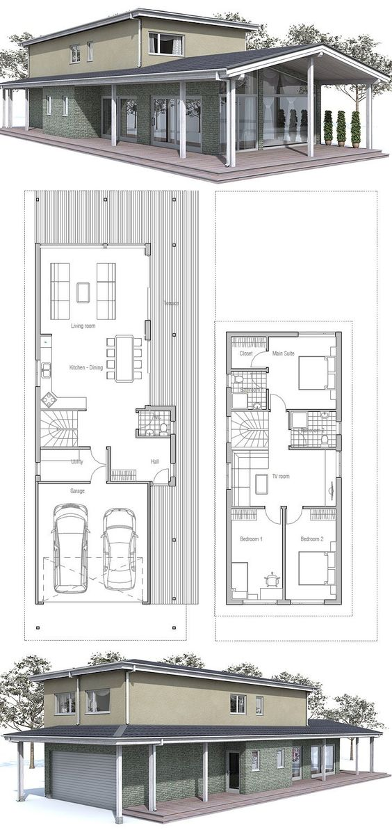 Modern house to narrow lot floor plan from concepthome for Modern house plans narrow lot