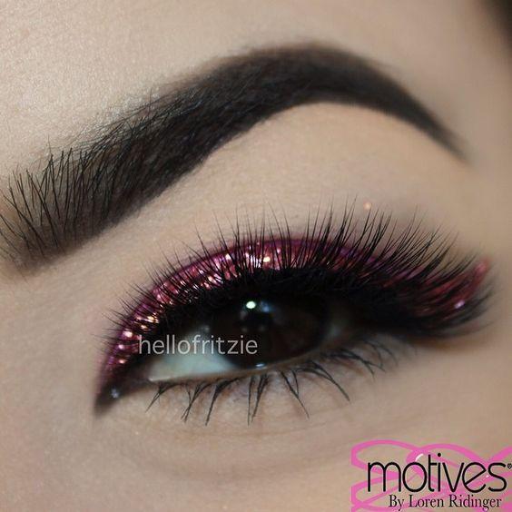 "glitter ""JEWEL PINK"" @motivescosmetics  brows ""EBONY"" dipbrow @anastasiabeverlyhills ✨ - @Fritzie Torres- #webstagram"