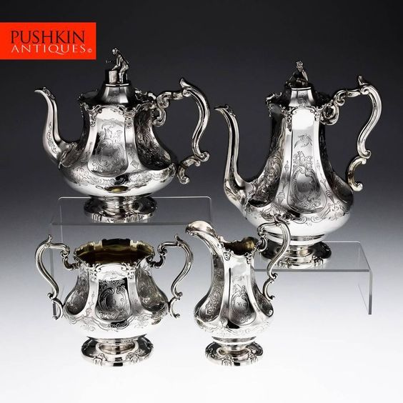 ANTIQUE 19thC VICTORIAN ORIENTAL SOLID SILVER 4PS TEA & COFFEE SET, ANGELL c1846