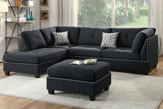3 pc Martinique collection black linen like fabric upholstered sectional sofa with reversible chaise and ottoman