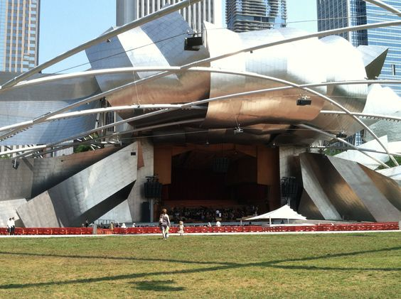 Jay Pritzker Pavilion, Millenium Park, Chicago. Rehearsal going on as I walked by.