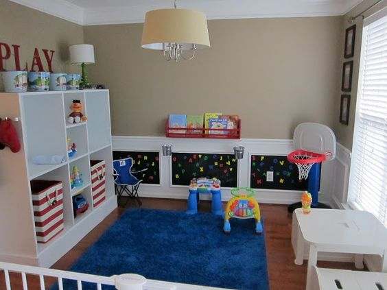 Playroom ideas the o 39 jays and the wall on pinterest for Dining room conversion ideas
