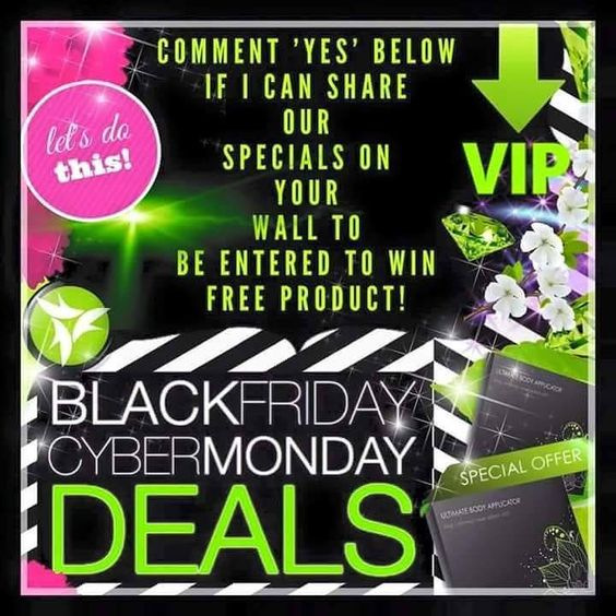HEY HEY HEY!   It Works  is DOUBLING our Black Friday  specials & Cyber Monday  deals! Comment below if I can share our specials on your wall & you'll be entered to win FREE PRODUCT!! You'll also be put on our  VIP list to have first dibs at these limited specials!!  #blackfriday #cybermonday #shopsmall http://ift.tt/1R8GSLl