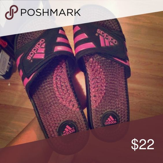 Pink Adidas Sandals Pink adidas sandals never worn size 7w Adidas Shoes Sandals