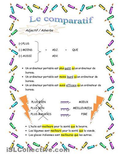 Le comparatif (2 pages):