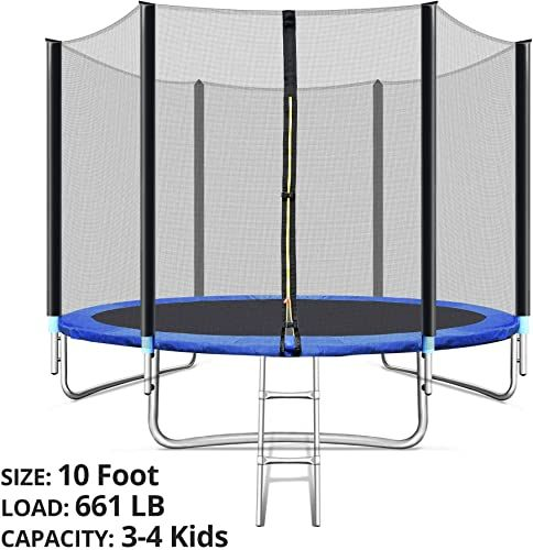 New Tripletree Trampoline Safe Enclosure Net 10 Foot 661 Lb Capacity 3 4 Kids Waterproof Jump Mat Ladder Indoor Outdoor Blue Online Looknewclothingsho In 2020 Backyard Trampoline Kids Trampoline Toddler Trampoline
