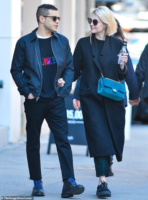 Rami Malek and Lucy Boynton look in love as they exchange sweet looks in NYC | Daily Mail Online