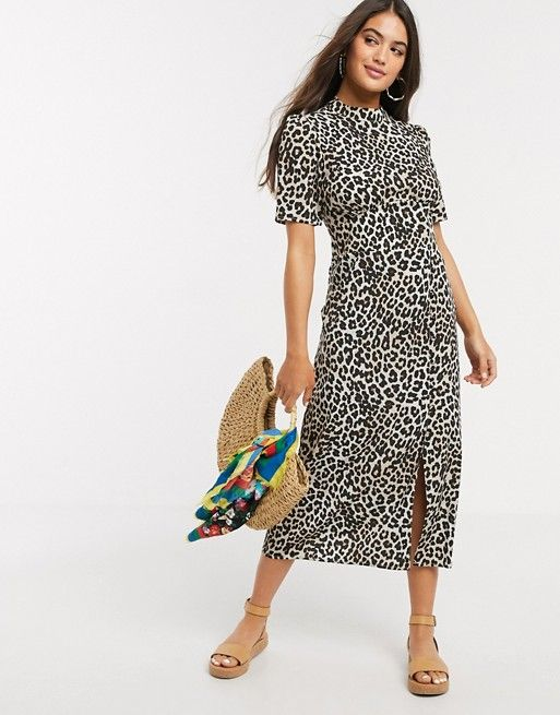 Asos Design Midi Tea Dress With Buttons And Split Detail In Leopard Print Asos In 2020 High Fashion Street Style Tea Dress Dresses