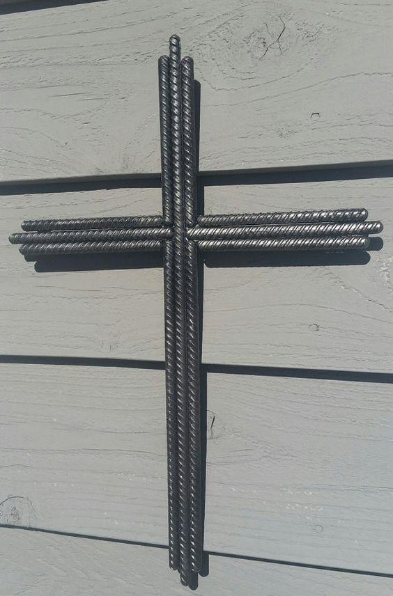 Rebar Cross Jesus Welded Steel Crucifix by MyTwoGoodHands on Etsy