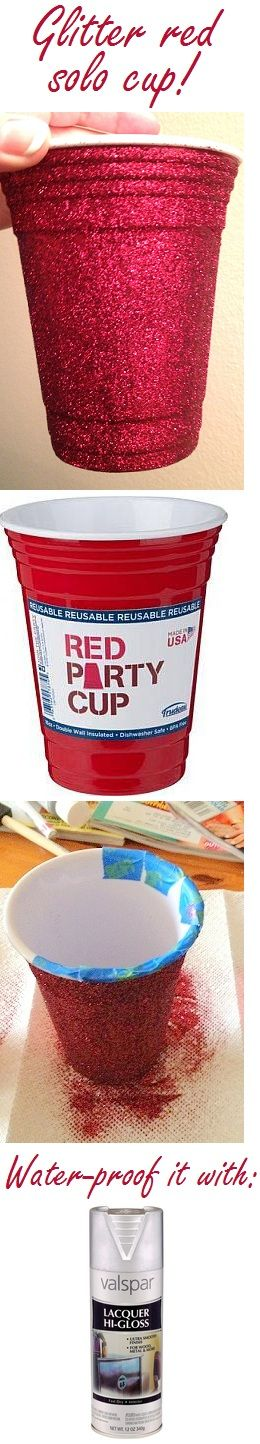DIY reusable glittered Red Solo Cup! Washable!! (by hand!) Click for my tutorial.