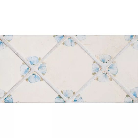 Petal Blanc Triangle/french Blue Ceramic Tiles 4x4