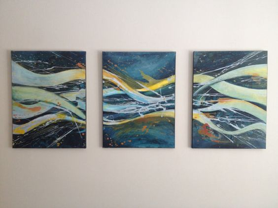 Abstract Triptych Painting by KBKipfer on Etsy