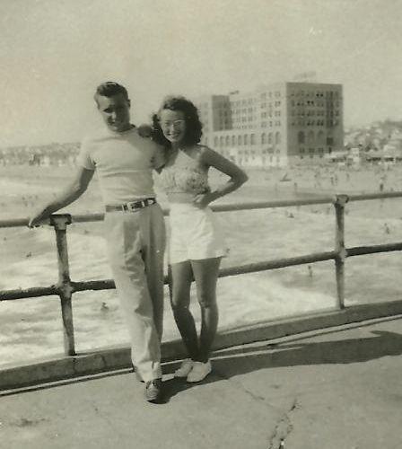 1940's couple on the Hermosa Beach Pier.