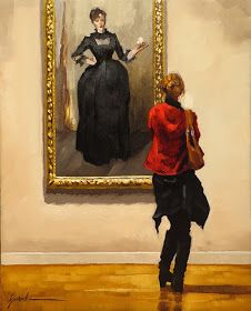 """""""The Little Black Dress"""" by Karin Jurick, 2013, oil on panel, 8 x 10in --- Description from the artist's blog: """"This young woman is connecting with John Singer Sargent's 'Lady with a Rose (Charlotte Louise Burckhardt)' which hangs in the Metropolitan Museum Of Art, New York City."""""""
