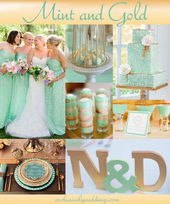 "Mint and Gold Wedding Theme|  ""Add Glamour to Your Wedding With Gold"" Read  more: https://exclusivelywed.files.wordpress.com/2014/06/mint_and-gold_wedding-20141.jpg"