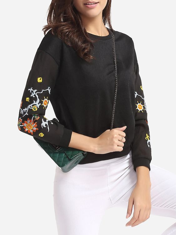 Embroidery Chic Round Neck Long-Sleeve T-Shirt