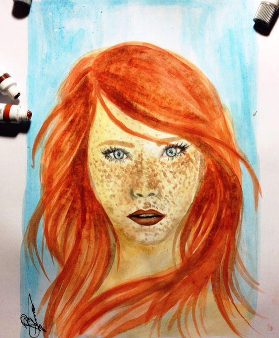 Menina pintada. Aquarela por Beatriz Lemos
