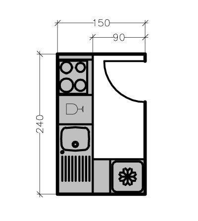 Sur ce plan d'une cuisine en L d'une surface de 3,6 m², le linéaire de façade est de 2,70 mètres avec de droite à gauche du plan de travail : l'espace cuisson, le lave-vaisselle, l'évier et le réfrigérateur sur le retour.    Manque espace machine a laver + bar