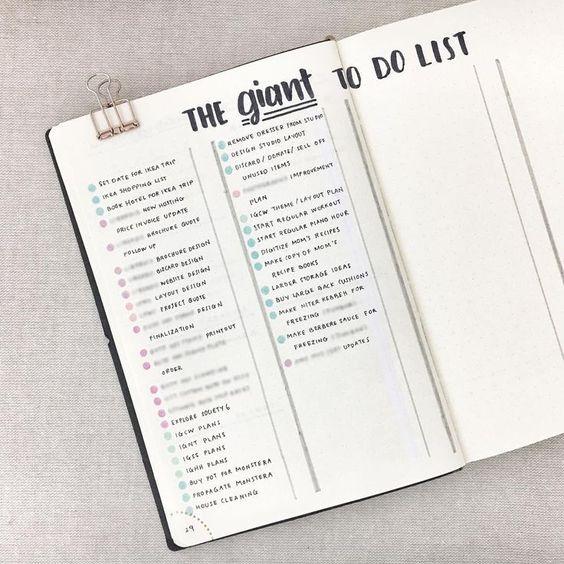 Bullet journal master task list, bullet journal giant to do list. | @cindywildflowers