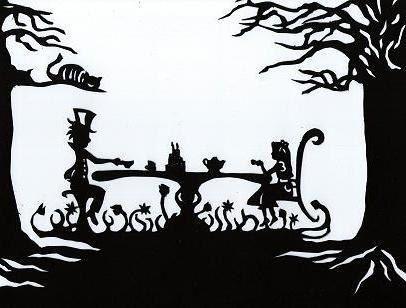 Papercut Silhouette, Alice In Wonderland, Paper Art, Hand Cut Out Original Art, Mad Hatter Tea Party. $50.00, via Etsy.