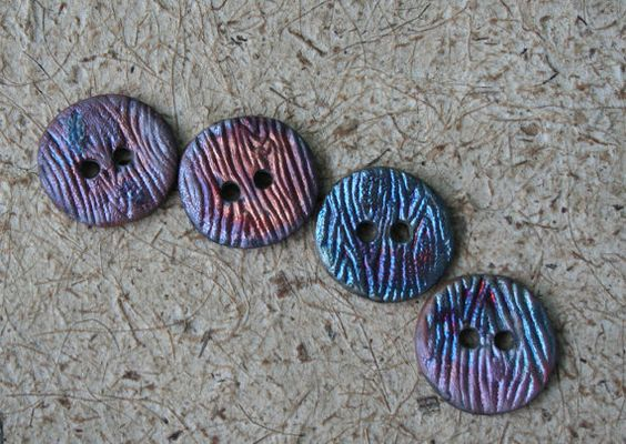 Raku Button Set of Four by DryeGoods on Etsy