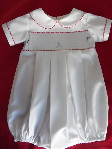 New Ready To Smock White Boys Yoke Bubble W Red Gingham