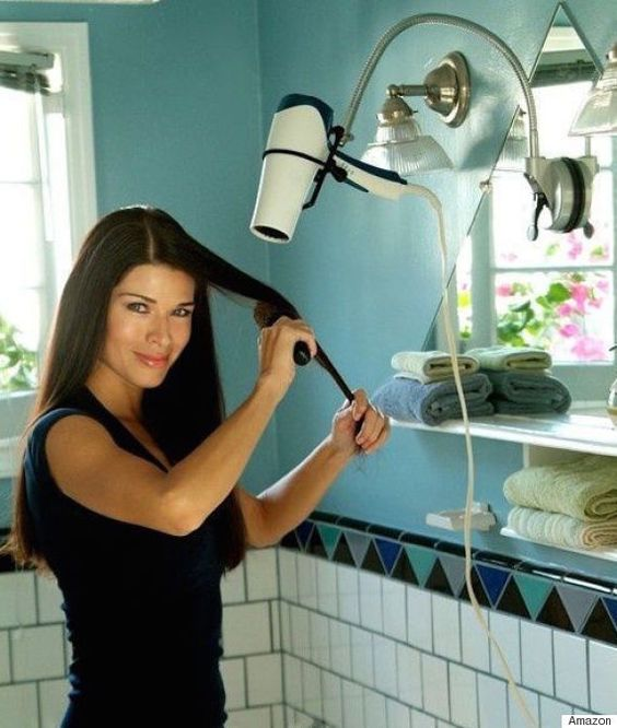 This hands-free hairdryer stand makes styling your blowout a breeze