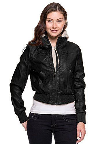 Faux Leather Bomber Jacket Womens fGg3u9