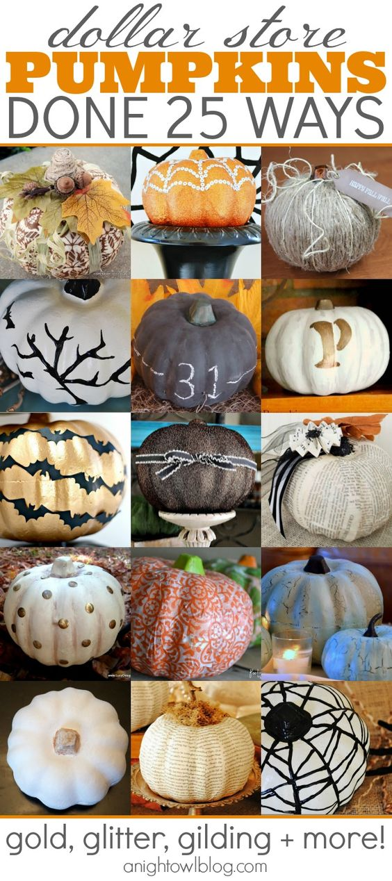 25 ways to makeover carvable dollar store pumpkins at anightowlblog.com   #fall #halloween #thanksgiving