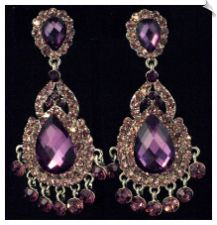 Vintage Style Silvertone Chandelier Clip On Earrings Accented with Purple Rhinestones $30 @ www.whimzgirlclipearrings.com