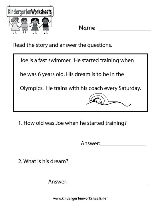 This is a reading comprehension worksheet intended to help readers – Free Kindergarten Reading Comprehension Worksheets