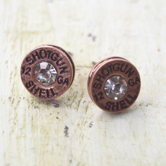 Copper Bullet Stud Earrings Copper Bullet Earrings with rhinestone center. Size of a dime. Jewelry Earrings