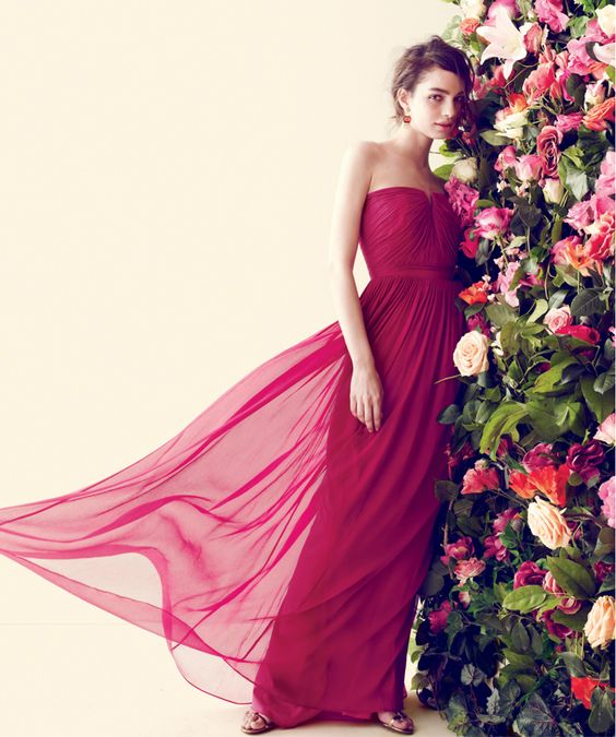 J.Crew Nadia long dress in silk chiffon.  Weddings  Pinterest ...