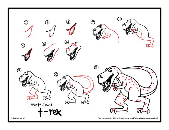 Printable Art For Kids How To Draw Dinosaurs