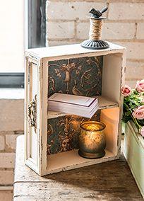Vintage Inspired Display Drawer with Shelf, Style 9560 #davidsbridal #vintagewedding #weddingreception