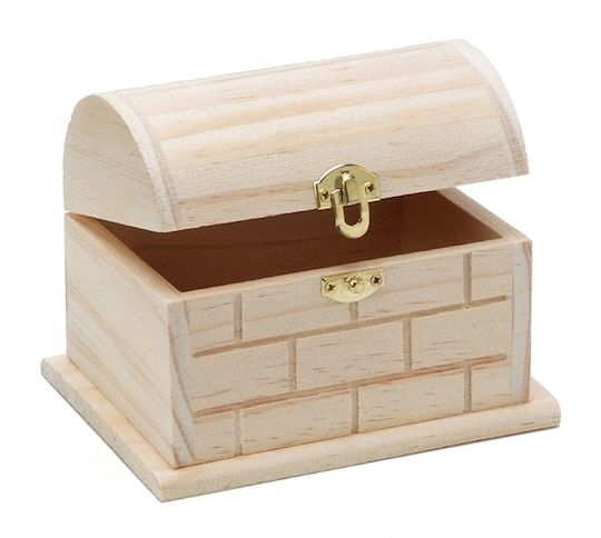 Wood Chest With Hinged Lid And Clasp 5 11 X 3 5 X 3 8 Inches Wood Chest Unfinished Wood Boxes Wood Shadow Box