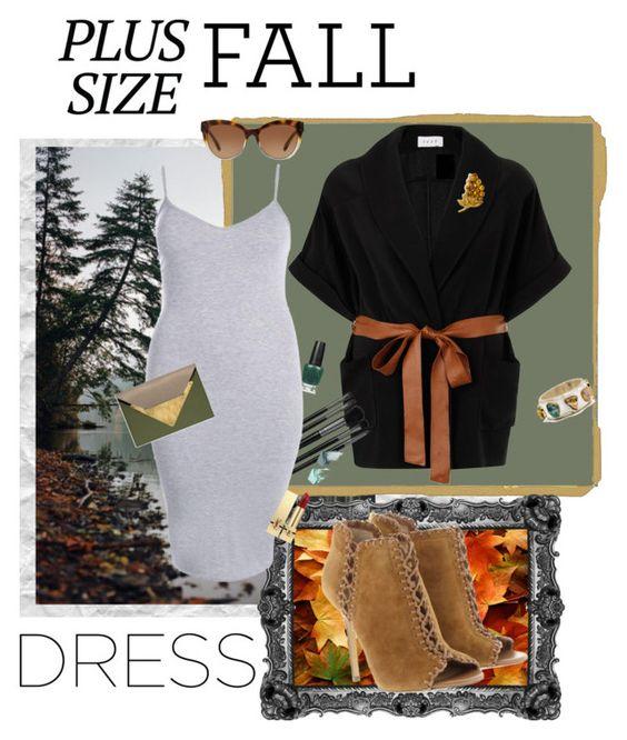 """Plus Size Day to Night Fall Dress"" by marcusv ❤ liked on Polyvore featuring SANDERSON, Elvi, Michael Kors, Illamasqua, OPI, Boohoo, Dareen Hakim, NARS Cosmetics and Yves Saint Laurent"